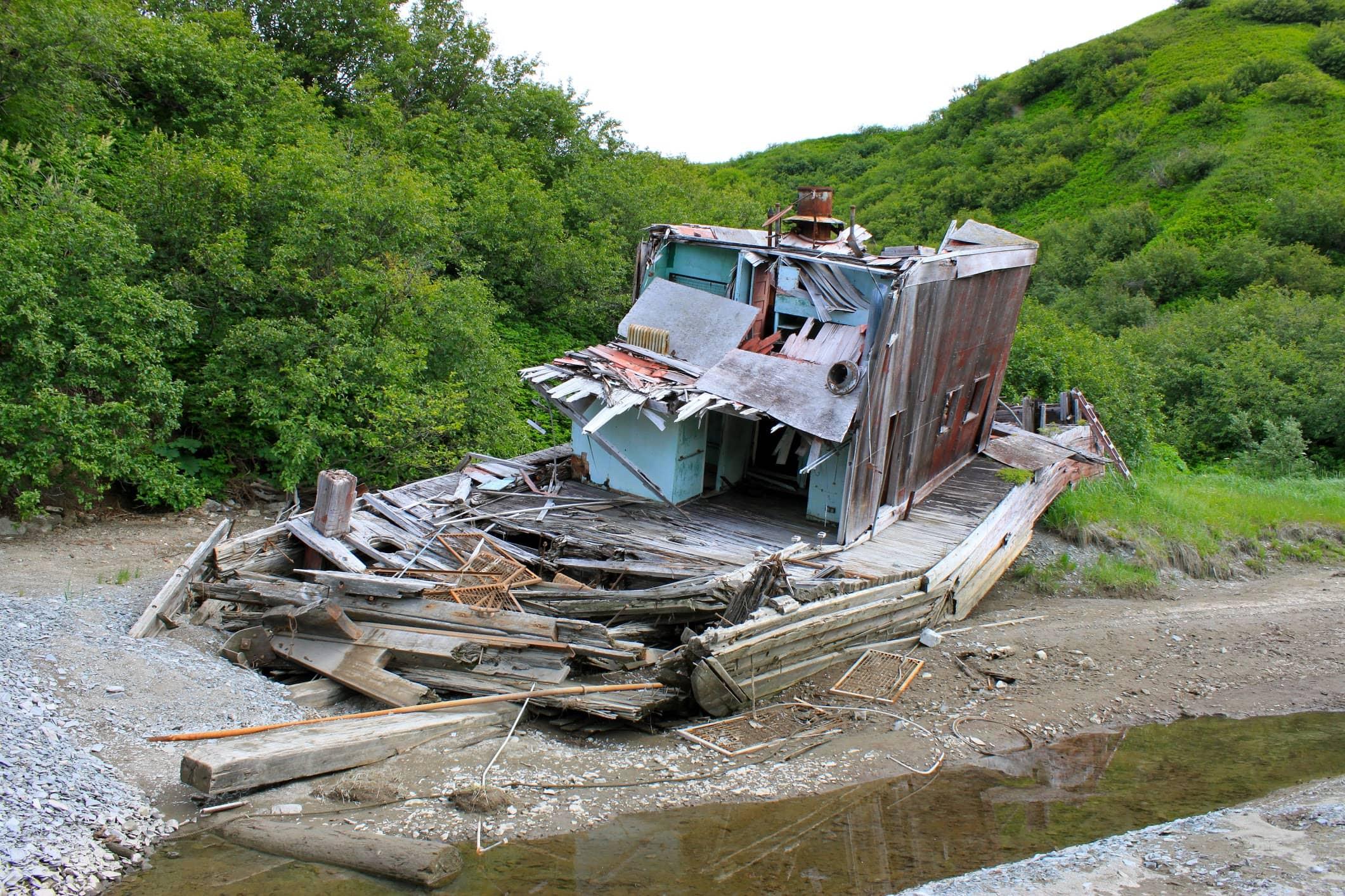 wrecked boat in alaska